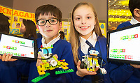 REPRO FREE:    Aaron Sidhu and Ruby Post  fromKnocknacarra NS at the Junior FIRST Lego League run by Galway Education Centre, in Galmont Hotel &amp; Spa.<br />  Photo: Andrew Downes, XPOSURE