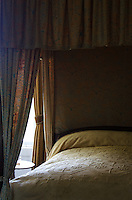 Four-poster bed with canopy and hangings at the Woodlawn Museum, Ellsworth, Maine.