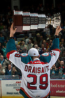 KELOWNA, CANADA - MAY 13: Leon Draisaitl #29 of Kelowna Rockets skates with the Championship trophy on May 13, 2015 during game 4 of the WHL final series at Prospera Place in Kelowna, British Columbia, Canada.  (Photo by Marissa Baecker/Shoot the Breeze)  *** Local Caption *** Leon Draisaitl;