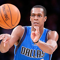 12 April 2014: Dallas Mavericks guard Rajon Rondo (9) passes the ball  during the Dallas Mavericks 120-106 victory over the Los Angeles Lakers, at the Staples Center, Los Angeles, California, USA.