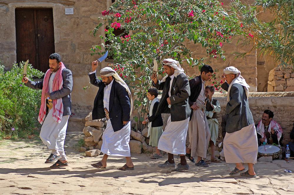 Dance & music at Rock Palace, Dar al-Hajar, Wadi Dhahr, North Yemen, Yemen, Arabian Peninsula