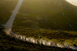 The lead bunch above Hermanus during stage 1 of the 2017 Absa Cape Epic Mountain Bike stage race held from Hermanus High School in Hermanus, South Africa on the 20th March 2017<br /> <br /> Photo by Greg Beadle/Cape Epic/SPORTZPICS<br /> <br /> PLEASE ENSURE THE APPROPRIATE CREDIT IS GIVEN TO THE PHOTOGRAPHER AND SPORTZPICS ALONG WITH THE ABSA CAPE EPIC<br /> <br /> ace2016