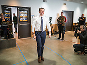 28 JANUARY 2020 - OSCEOLA, IOWA: PETE BUTTIGIEG walks into a campaign event at the Clarke County Fairgrounds in Osceola, about 50 miles south of Des Moines. Buttigieg talked to a crowd of about 130 people in Osceola. Buttigieg, the former mayor of South Bend, Indiana, is running to be the Democratic nominee for President in the 2020 election. Iowa traditionally holds the first presidential selection event of the 2020 election cycle. The Iowa Caucuses are on Feb. 3, 2020.    PHOTO BY JACK KURTZ