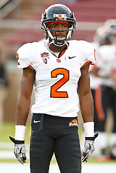 November 27, 2010; Stanford, CA, USA;  Oregon State Beavers wide receiver Markus Wheaton (2) warms up before the game against the Stanford Cardinal at Stanford Stadium.  Stanford defeated Oregon State 38-0.
