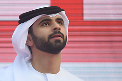 March 2, 2019 - Dubai, United Arab Emirates - Sheikh Mansour Bin Mohammed Bin Rashid Al Maktoum seen at the Awards Ceremony of the seventh and final stage - Dubai Stage of the UAE Tour 2019, a 145km with a start from Dubai Safari Park and finish in City Walk area. .On Saturday, March 2, 2019, in Dubai City Walk, Dubai Emirate, United Arab Emirates...Sheikh Mansour Bin Mohammed Bin Rashid Al Maktoum, Sheikh, Mansour Bin Mohammed Bin Rashid Al Maktoum, (Credit Image: © Artur Widak/NurPhoto via ZUMA Press)