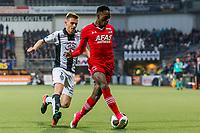 ALMELO - 14-04-2017, Heracles  Almelo - AZ, AFAS Stadion, Heracles Almelo speler Tim Breukers, AZ speler Ridgeciano Haps