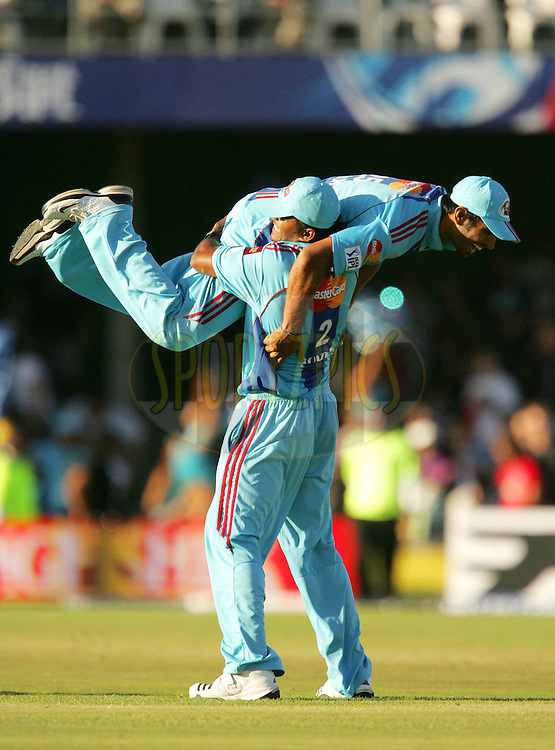 EAST LONDON, SOUTH AFRICA - 1 May 2009. Abhishek nayar is hoisted in the air to celebrate the win during the  IPL Season 2 match between the Mumbai Indians and the Kolkata Knight Riders held at Buffalo Park in East London. South Africa..