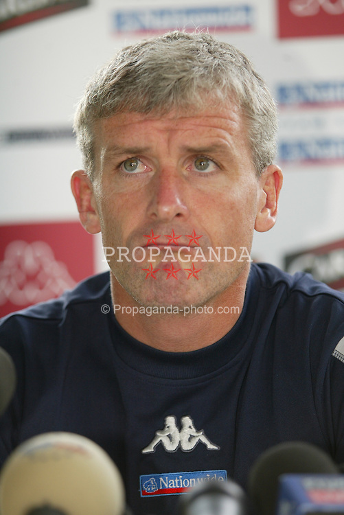 MILAN, ITALY - Friday, September 5, 2003: Wales' Mark Hughes at a press conference at the Royal Garden Hotel ahead of their Group 9 Euro 2004 qualifier against Italy. (Pic by David Rawcliffe/Propaganda)