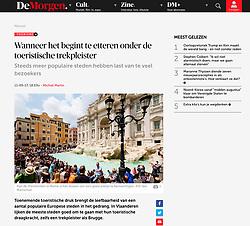 DeMorgen newspaper, Belgium; Trevi Fountain in Rome