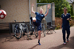 Mieke Kröger (GER) plays football ahead of the Boels Ladies Tour 2018 - Stage 4, a 124.3km road race from Stramproy to Weert, Netherlands on August 31, 2018. Photo by Sean Robinson/velofocus.com