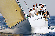 Grand Prix 12 Metre Kiwi Magic KZ7 sailing off Valencia before racing. 14/6/2007