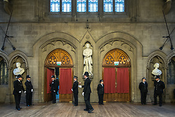 © Licensed to London News Pictures. 05/01/2018. Manchester, UK. A police honour guard lines the entrance to the Great Hall . Police officers and railway workers who came to the aid of victims in the wake of the terrorist attack at an Arina Grande concert at the Manchester Arena in May 2017 are honoured at a commendation ceremony at the Great Hall at Manchester Town Hall. Amongst those honoured are officers from British Transport Police and Northern Rail staff . Photo credit: Joel Goodman/LNP