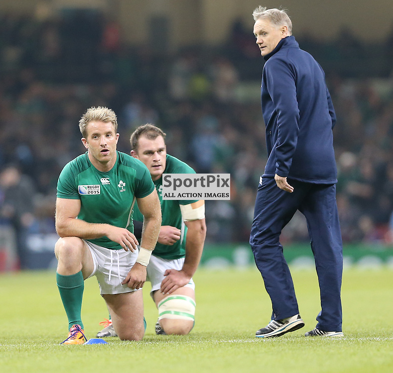 Joe Schmidt working with the team before the Rugby World Cup Quarter Final, Ireland v Argentina, Sunday 18 October 2015, Millenium Stadium, Cardiff (Photo by Mike Poole - Photopoole)