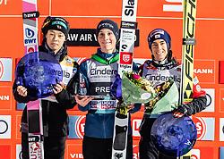 17.03.2019, Vikersundbakken, Vikersund, NOR, FIS Weltcup Skisprung, Raw Air, Vikersund, Einzelbewerb, Herren, Siegerehrung, im Bild 2. Platz Ryoyu Kobayashi (JPN), Sieger Domen Prevc (SLO), 3. Platz Stefan Kraft (AUT) // 2nd place Ryoyu Kobayashi of Japan Winner Domen Prevc of Slovenia 3rd place Stefan Kraft of Austria during the winner ceremony for the individual competition of the 4th Stage of the Raw Air Series of FIS Ski Jumping World Cup at the Vikersundbakken in Vikersund, Norway on 2019/03/17. EXPA Pictures © 2019, PhotoCredit: EXPA/ JFK