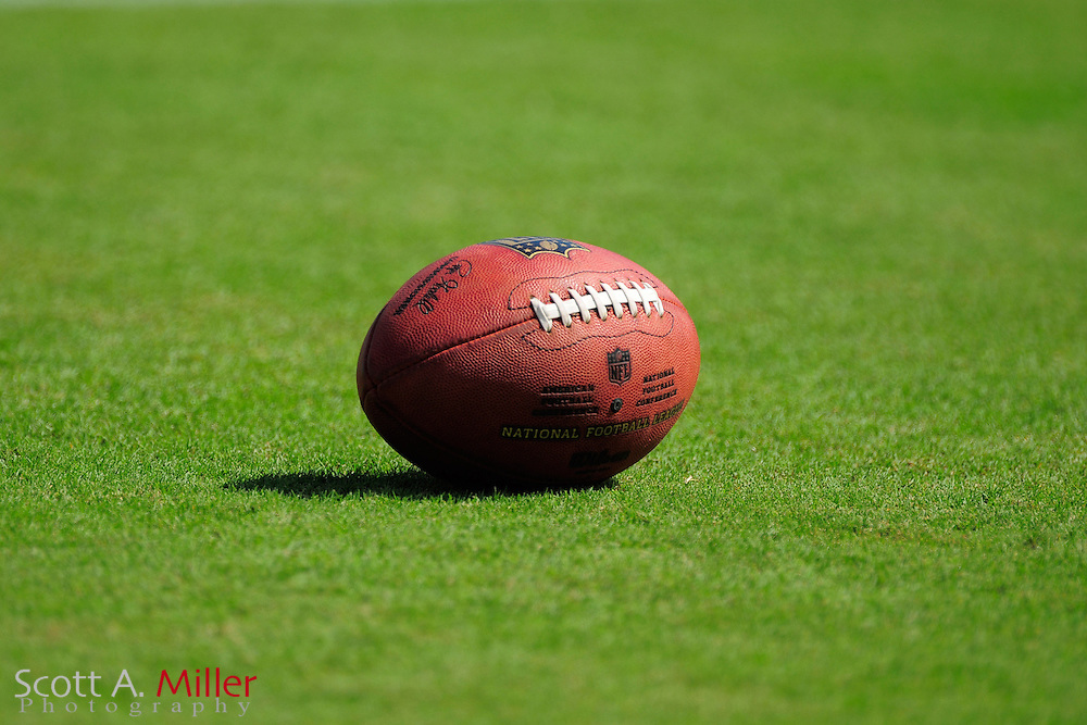 "A Wilson ""Duke"" NFL football sits on the field prior to the NFL game between the Houston Texans and the Jacksonville Jaguars, at EverBank Field on September 16, 2012 in Jacksonville, Florida. ©2012 Scott A. Miller."