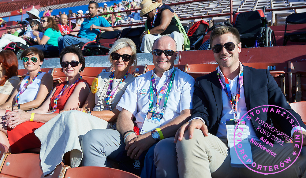 (R-L) Nicolas Niemczycki and Boguslaw Galazka and Katarzyna Frank Niemczycka and Dorota Idzi on the tribune during opening ceremony of the Special Olympics World Games Los Angeles 2015 at the Los Angeles Coliseum Stadium on July 25, 2015 in Los Angeles, USA.<br /> USA, Los Angeles, July 25, 2015<br /> <br /> Picture also available in RAW (NEF) or TIFF format on special request.<br /> <br /> For editorial use only. Any commercial or promotional use requires permission.<br /> <br /> Adam Nurkiewicz declares that he has no rights to the image of people at the photographs of his authorship.<br /> <br /> Mandatory credit:<br /> Photo by &copy; Adam Nurkiewicz / Mediasport