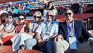 (R-L) Nicolas Niemczycki and Boguslaw Galazka and Katarzyna Frank Niemczycka and Dorota Idzi on the tribune during opening ceremony of the Special Olympics World Games Los Angeles 2015 at the Los Angeles Coliseum Stadium on July 25, 2015 in Los Angeles, USA.<br /> USA, Los Angeles, July 25, 2015<br /> <br /> Picture also available in RAW (NEF) or TIFF format on special request.<br /> <br /> For editorial use only. Any commercial or promotional use requires permission.<br /> <br /> Adam Nurkiewicz declares that he has no rights to the image of people at the photographs of his authorship.<br /> <br /> Mandatory credit:<br /> Photo by © Adam Nurkiewicz / Mediasport