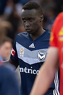 Melbourne Victory defender Thomas Deng (14) walks out at the Hyundai A-League Round 7 soccer match between Melbourne Victory v Adelaide United at Marvel Stadium in Melbourne, Australia.