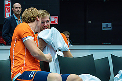 11-08-2019 NED: FIVB Tokyo Volleyball Qualification 2019 / Netherlands - USA, Rotterdam<br /> Final match pool B in hall Ahoy between Netherlands vs. United States (1-3) and Olympic ticket  for USA / Twan Wiltenburg #22 of Netherlands, Luuc van der Ent #5 of Netherlands
