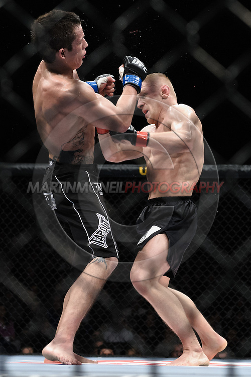 "DUBLIN, IRELAND, JANUARY 17, 2009: Nate Mohr (left) and Dennis Siver during ""UFC 93: Franklin vs. Henderson"" inside the O2 Arena in Dublin, Ireland"