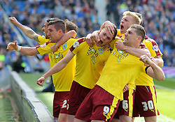 Michael Keane ( C ) of Burnley celebrates after he scores to make it 2-2 - Mandatory by-line: Paul Terry/JMP - 02/04/2016 - FOOTBALL - Amex Stadium - Brighton, England - Brighton and Hove Albion v Burnley - Sky Bet Championship