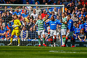 Celtic Captain Scott Brown shouting instructions from the back during the Ladbrokes Scottish Premiership match between Rangers and Celtic at Ibrox, Glasgow, Scotland on 12 May 2019.