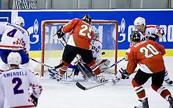 MAGOSI Bálint of Hungary vs BELIC Vanja of Croatia  at IIHF Ice-hockey World Championships Division I Group B match between National teams of Hungary and Croatia, on April 20, 2010, in Tivoli hall, Ljubljana, Slovenia.  (Photo by Vid Ponikvar / Sportida)