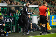 Hibernian assistant manager, John Potter questions the stand side assistant referee during the Ladbrokes Scottish Premiership match between Hibernian FC and Hamilton Academical FC at Easter Road Stadium, Edinburgh, Scotland on 22 January 2020.