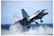 F-18, VFA113 catapulting off of carrier deck.