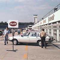 Audi Stand, Hockenheim test day, pre IAA Frankfurt Motor Show 1981