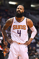 Oct 11, 2017; Phoenix, AZ, USA; Phoenix Suns center Tyson Chandler (4) reacts against the Portland Trail Blazers in the first half at Talking Stick Resort Arena. Mandatory Credit: Jennifer Stewart-USA TODAY Sports
