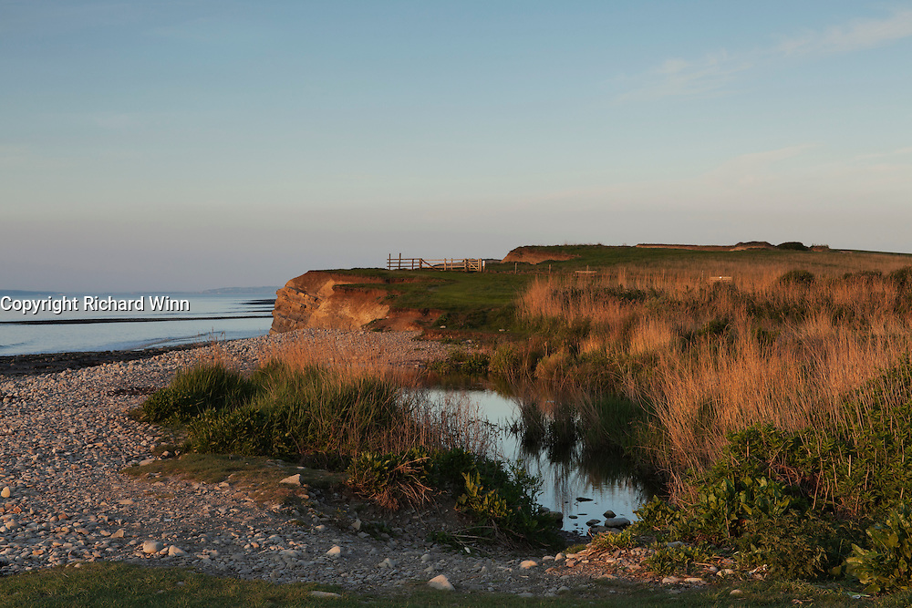 Evening view of the mouth of the River Holford at Kilve Pill, on Kilve Beach, showing the pools formed just before it cascades over the rocks of the beach.