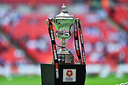 The play off final trophy during the Vanarama National League Play Off Final match between Tranmere Rovers and Forest Green Rovers at Wembley Stadium, London, England on 14 May 2017. Photo by Adam Rivers.