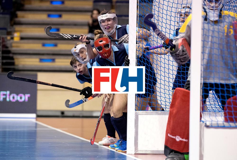 BERLIN - Indoor Hockey World Cup<br /> Women: Ukraine - Germany<br /> foto: Ukrain pc defense.<br /> WORLDSPORTPICS COPYRIGHT FRANK UIJLENBROEK