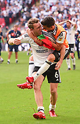 Fulham midfielder Kevin McDonald (6)  and Fulham striker Rui Fonte (9) celebrate during the EFL Sky Bet Championship play-off final match between Fulham and Aston Villa at Wembley Stadium, London, England on 26 May 2018. Picture by Jon Hobley.