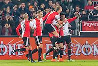 ROTTERDAM - Feyenoord - Vitesse , Voetbal , Eredivisie , Seizoen 2016/2017 , De Kuip , 16-12-2016 , Feyenoord speler Eljero Elia (r) viert de 1-0 met Feyenoord speler Dirk Kuyt op zijn nek
