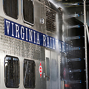 A VRE train is washed in the yard in Fredericksburg, Virginia.