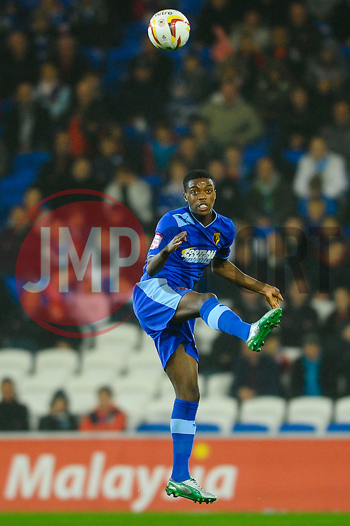 Watford Defender Nathaniel Chalobah (ENG) heads in the air during the first half of the match - Photo mandatory by-line: Rogan Thomson/JMP - Tel: Mobile: 07966 386802 23/10/2012 - SPORT - FOOTBALL - Cardiff City Stadium - Cardiff. Cardiff City v Watford - Football League Championship