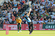 Martin Guptil of Worcestershire Rapids hits a four over the bowlers head during the Vitality T20 Blast North Group match between Nottinghamshire County Cricket Club and Worcestershire County Cricket Club at Trent Bridge, West Bridgford, United Kingdon on 18 July 2019.