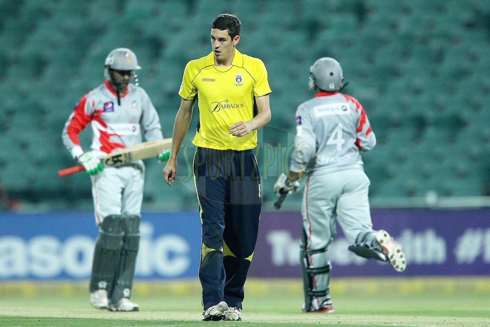 Christopher Wood walks back during the 6th Qualifying match of the Karbonn Smart CLT20 South Africa between Hampshire and Sailkot Stallions held at The Wanderers Stadium in Johannesburg, South Africa on the 11th October 2012..Photo by Ron Gaunt/SPORTZPICS/CLT20