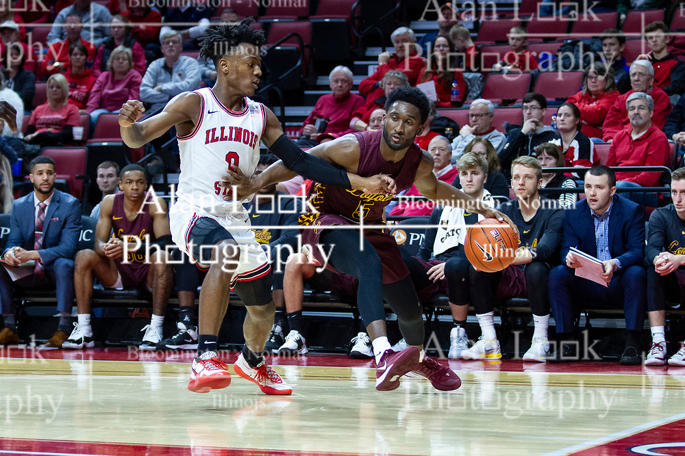 NORMAL, IL - January 19: Keith Clemons drives towards the hoop defended by DJ Horne during a college basketball game between the ISU Redbirds and the Loyola University Chicago Ramblers on January 19 2020 at Redbird Arena in Normal, IL. (Photo by Alan Look)