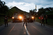 Slovenian KFOR troops during a stand-off with local Serbs..Serbian roadblocks along the main Pristina-Leposavic road in the village of Rudare, near Kosovska Mitrovica, Kosovo. Friday July 29, 2011..Border crisis, July 2011