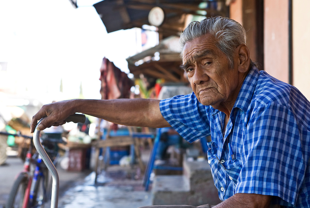 "An old man gives the photographer a wry look as the camera is trained on him. Masatepe is one of the ""Los Pueblos Blancos, a series of towns on the central plateau of Nicaragua. It is located close to Granada, Nicaragua."