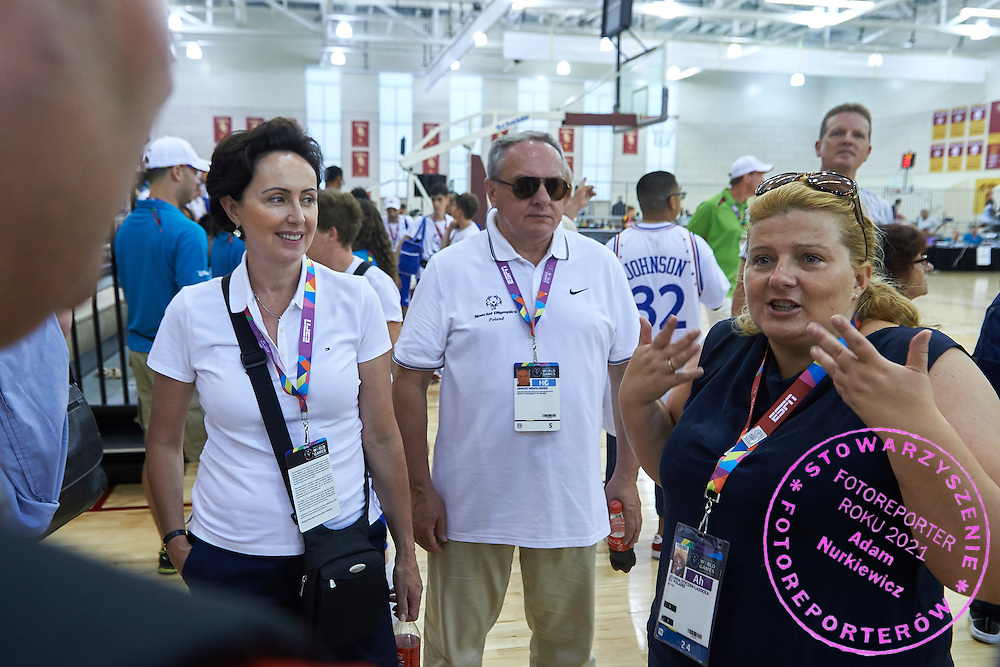 (R) Joanna Styczen speaks to (L) Dorota Idzi and (C) Janusz Wesolowski after basketball match SO Poland v SO Canada during second day of the Special Olympics World Games Los Angeles 2015 on July 26, 2015 on Galen Center at University of Southern California in Los Angeles, USA.<br /> USA, Los Angeles, July 26, 2015<br /> <br /> Picture also available in RAW (NEF) or TIFF format on special request.<br /> <br /> For editorial use only. Any commercial or promotional use requires permission.<br /> <br /> Adam Nurkiewicz declares that he has no rights to the image of people at the photographs of his authorship.<br /> <br /> Mandatory credit:<br /> Photo by &copy; Adam Nurkiewicz / Mediasport