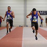 60m (47) Kapenda Raphael  lors du Meeting indoor d'athlétisme du SMAC qui s'est déroulé à Malonne (Hall indoor) le 07/01/2017.