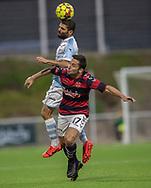 Daniel Norouzi (FC Helsingør) når over Daniel Anusic (Frem) under kampen i 2. Division mellem FC Helsingør og Boldklubben Frem den 27. september 2019 på Helsingør Ny Stadion (Foto: Claus Birch).