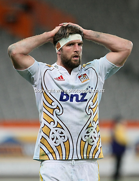 Mike Fitzgerald of the Chiefs dejected after losing to the Highlanders in the Super 15 rugby match, Highlanders v Chiefs, Forsyth Barr Stadium, Dunedin, New Zealand, Friday, June 27, 2014. Photo: Dianne Manson / www.photosport.co.nz