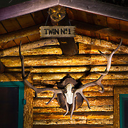 "Antlers adorn the ""Twin No. 1"" cabin at the Holzworth ranch in Rocky Mountain National Park."