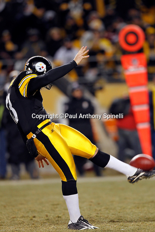 Pittsburgh Steelers punter Jeremy Kapinos (13) punts as the ball sits on his foot during the NFL 2011 AFC Championship playoff football game against the New York Jets on Sunday, January 23, 2011 in Pittsburgh, Pennsylvania. The Steelers won the game 24-19. (©Paul Anthony Spinelli)