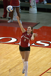 29 October 2005: Redbird Emily Kabbes serving. In three games, the Illinois State Redbirds ran past the Salukis of Southern Illinois University. The matchup took place at Redbird Arena on the campus of Illinois State University in Normal IL